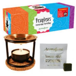 Aromafume Boxed Assortment of 20 Incense Bricks, Diffuser, Tealight & Coaster